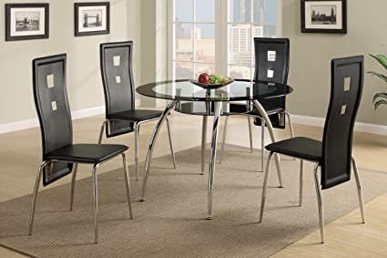 Poundex F2211/F1273 Black Painted Glass & Leatherette Chairs 5 Piece Dining Set