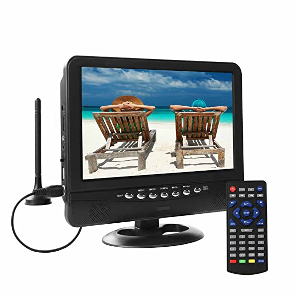 GJY 9.5-Inch Portable Widescreen TV Built in Digital Tuner+NTSC,USB//TF Card Slot//Headphone Inputs,with Detachable Antennas,Automotive Mobile TV,Full Function Remote,Removable Bracket