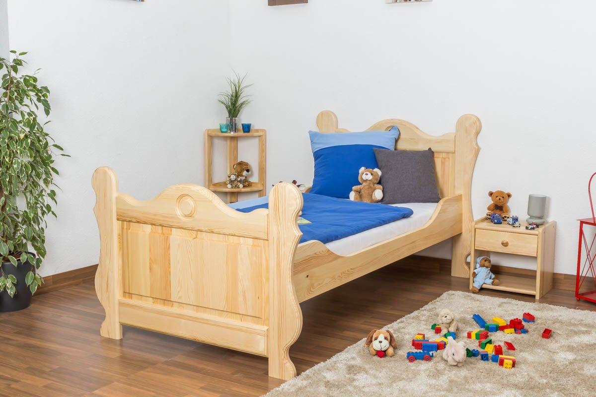 Kinderbett / Jugendbett Kiefer massiv Vollholz natur 91, inkl. Lattenrost – Abmessung 90 x 200 cm günstig bestellen