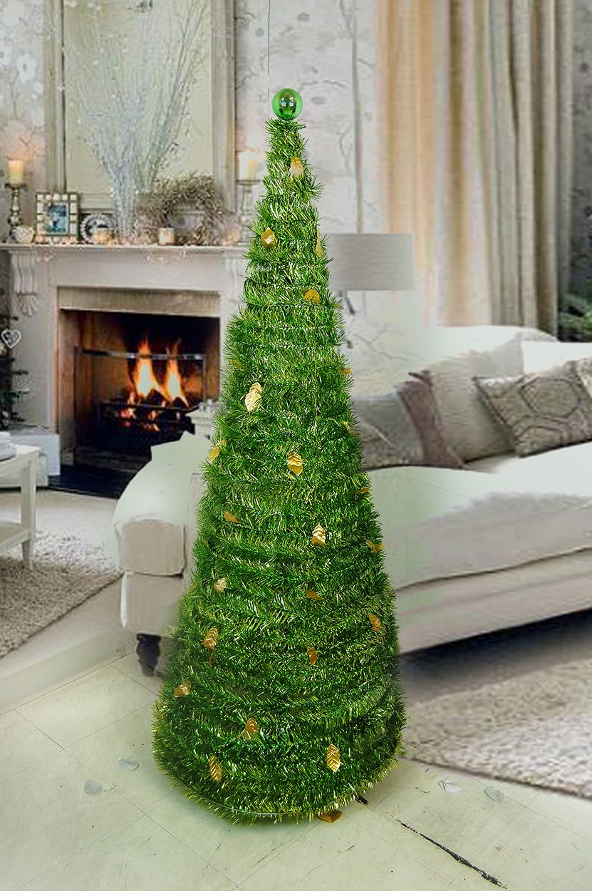 Christmas Tree 5' Collapsible Pop-up Tinsel Metallic Cone Modern Decor Holiday Design (Green)