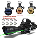 Aipa AR15 Rifle Scope Tactical Combo 4-12x50EG Dual Illuminated and 4 Reticles Red Green Dot Sight for Hunting 22&11mm Weaver/Picatinny Rail Mount (24 Month Warranty) (Color: C4-12*50EG+HD103+JG13(green))