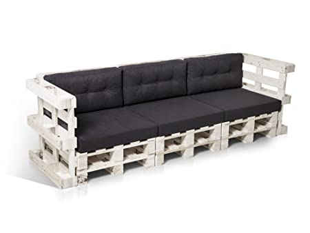 PALETTI Sofa 3-Sitzer Couch Lounge Gartenmöbel weiß lackiert