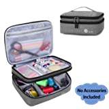 Luxja Double-Layer Sewing Supplies Organizer, Sewing Accessories Organizer for Needles, Thread, Scissors, Measuring Tape and Other Sewing Tools (Bag Only), Gray (Color: Gray, Tamaño: Large)