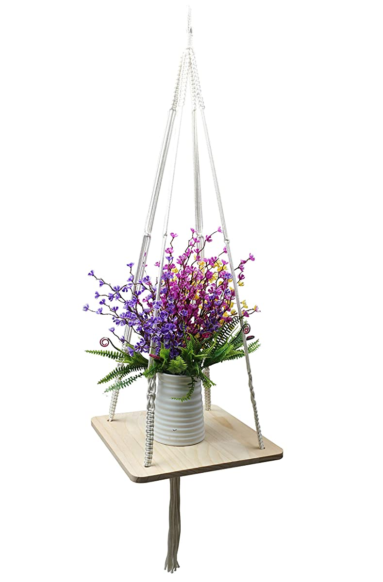 Furnily Macrame Plant for Home Decoration Shelf Hanging Planter(Square)