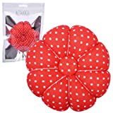 eZAKKA Wrist Pin Cushion Polka Pumpkin Wrist Band Pin Cushions Wearable Needle Pincushions for Sewing (Polka Dots Red) (Color: Polka Dots Red)