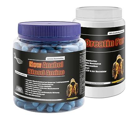 Creatin Pur 500g+Anabol Blood Amino 350 Kapseln! Kreatin Monohydrat ATP Fettverbrennung Globulin fettfreie Muskelmasse stark anabol