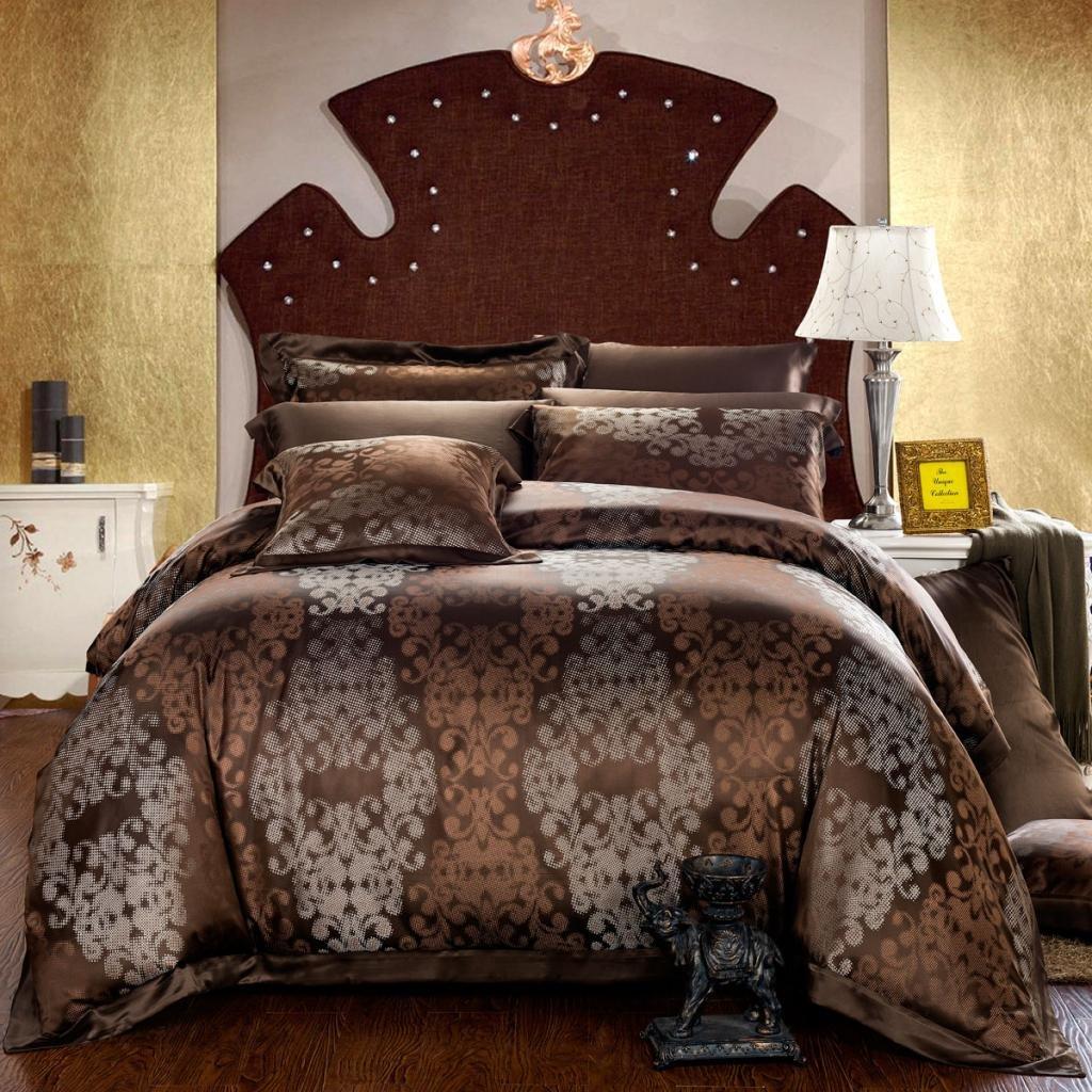Orifashion Luxury 5-Piece Chocolate Baroque-style 100% Silk Yarn-dyed Jacquard And Charmeuse Bedding Set, California King Size