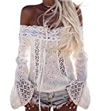 Hot sales!LTUI Elegant Sexy Women Off Shoulder Long Sleeve Lace Loose Blouse Tops T-Shirt for Daily Office Work Travel Shopping (XXL, White)