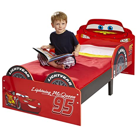 Hello Home Cars Lightning McQueen - Cama infantil, 140 x 70 cm, color rojo
