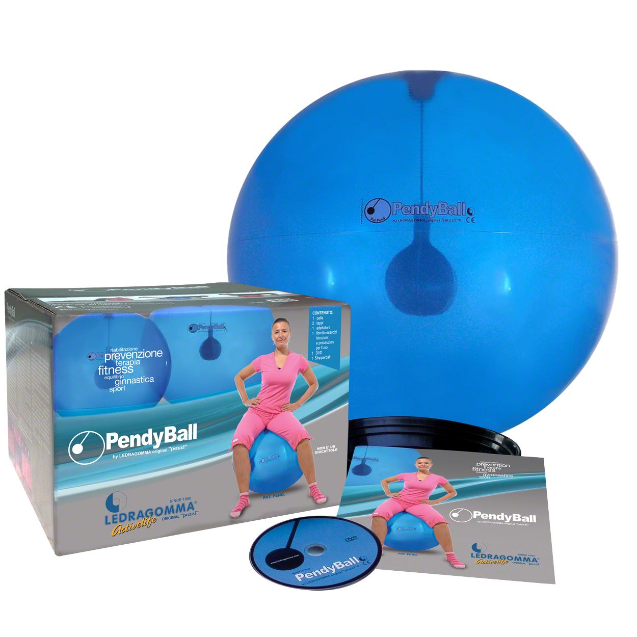 PendyBall by Ledragomma original 'pezzi' / blau-transp. Gymnastikball / Pendel (2 kg) im Inneren Ø 55 cm / Trainingsgerät Reha Rumpfmuskeln günstig online kaufen