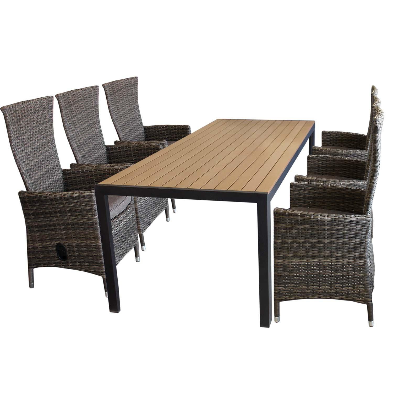 7tlg Gartengarnitur Polywood Aluminium Gartentisch 205x90cm + 6 Rattansessel inkl. Sitzpolster Polyrattan braun-meliert Gartenmöbel Sitzgarnitur Sitzgruppe günstig