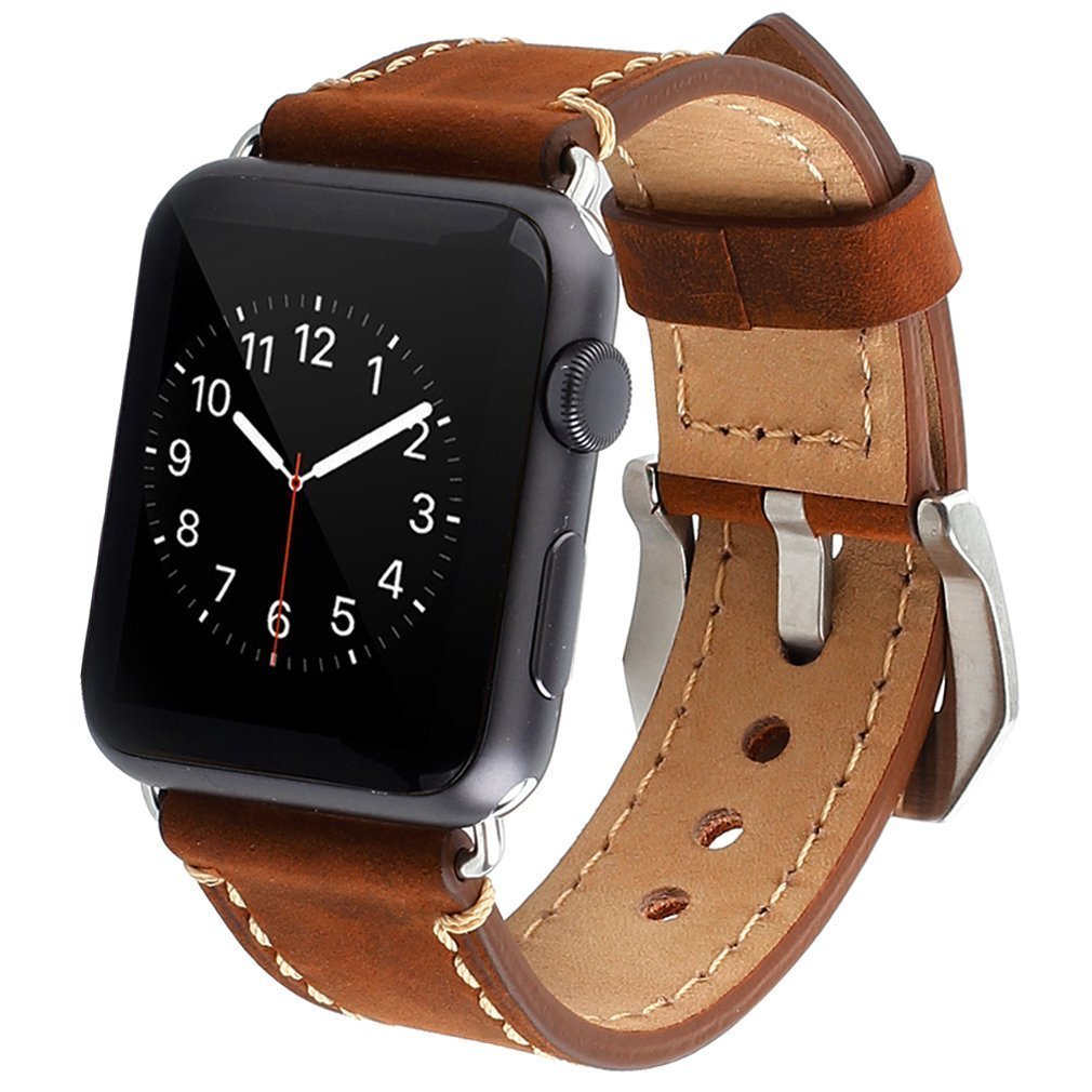 Apple Watch Band, iWatch Leather Wrist Band, Premium Vintage Crazy Horse Leather Watches Band with Secure Metal Clasp Classic Buckle Strap Replacement for Apple Watch 42mm (Dark Brown) 0