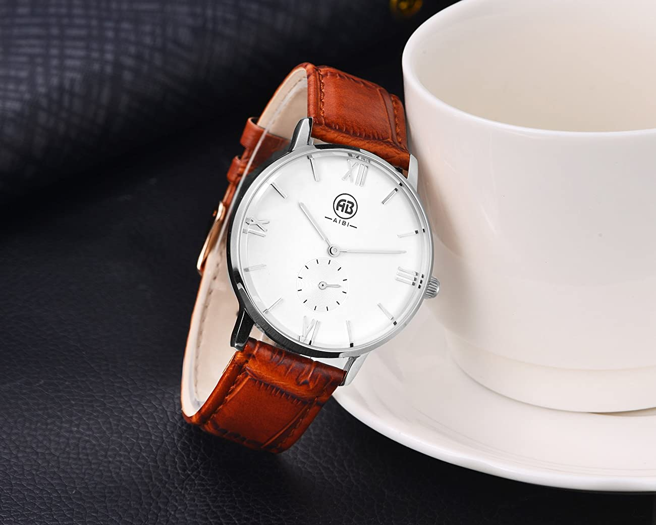 AIBI Men`s Silver Tone White Large Face Quartz Analog Brown Leather Watch with Small Second Dial 3