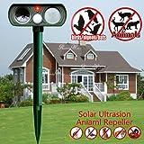 Solar Powered Ultrasonic Animal Repeller Outdoor Pest Control PIR Sensor Scare Cat Dog Deer Rabbit Squirrel and Other Unwanted Animals Away