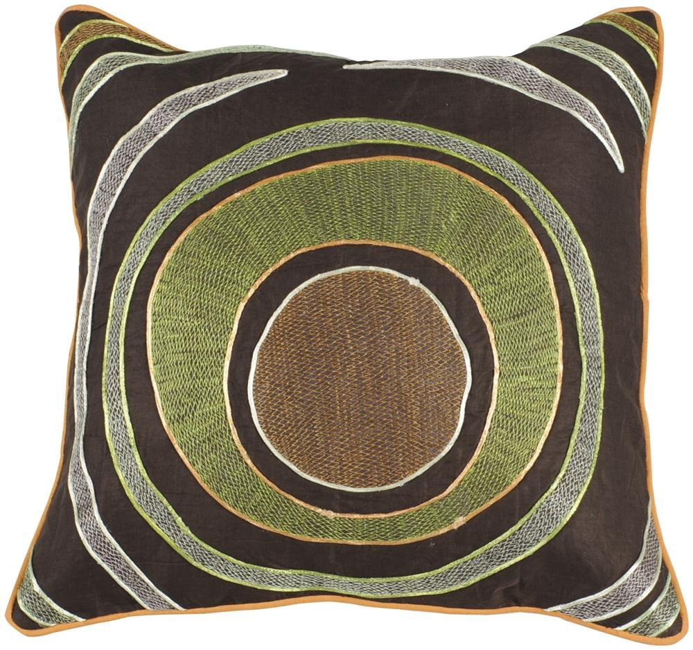 Jill Rosenwald by Surya P-0182 Machine Made 100% Cotton Chocolate 18 x 18 Decorative Pillow