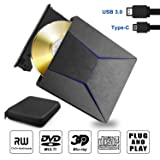 External Blu ray DVD Drive 3D, Slim External Bluray Player USB 3.0 & Type-C CD DVD Bruner Blu-ray Drive Reader Recorder Combo for Windows XP 7 8 10,Vista, MacOS for MacBook, Laptop, Desktop (Color: Blanck, Tamaño: 5.74*6.18*1 inch)