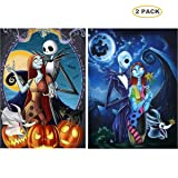 5D Full Drill Diamond Painting Kit,Hartop DIY Diamond Rhinestone Painting Kits for Adults and Beginner,Embroidery Arts Craft Home Office Decor (2 Pack Jack Halloween Skull) (Color: 2 pack Jack Halloween Skull)