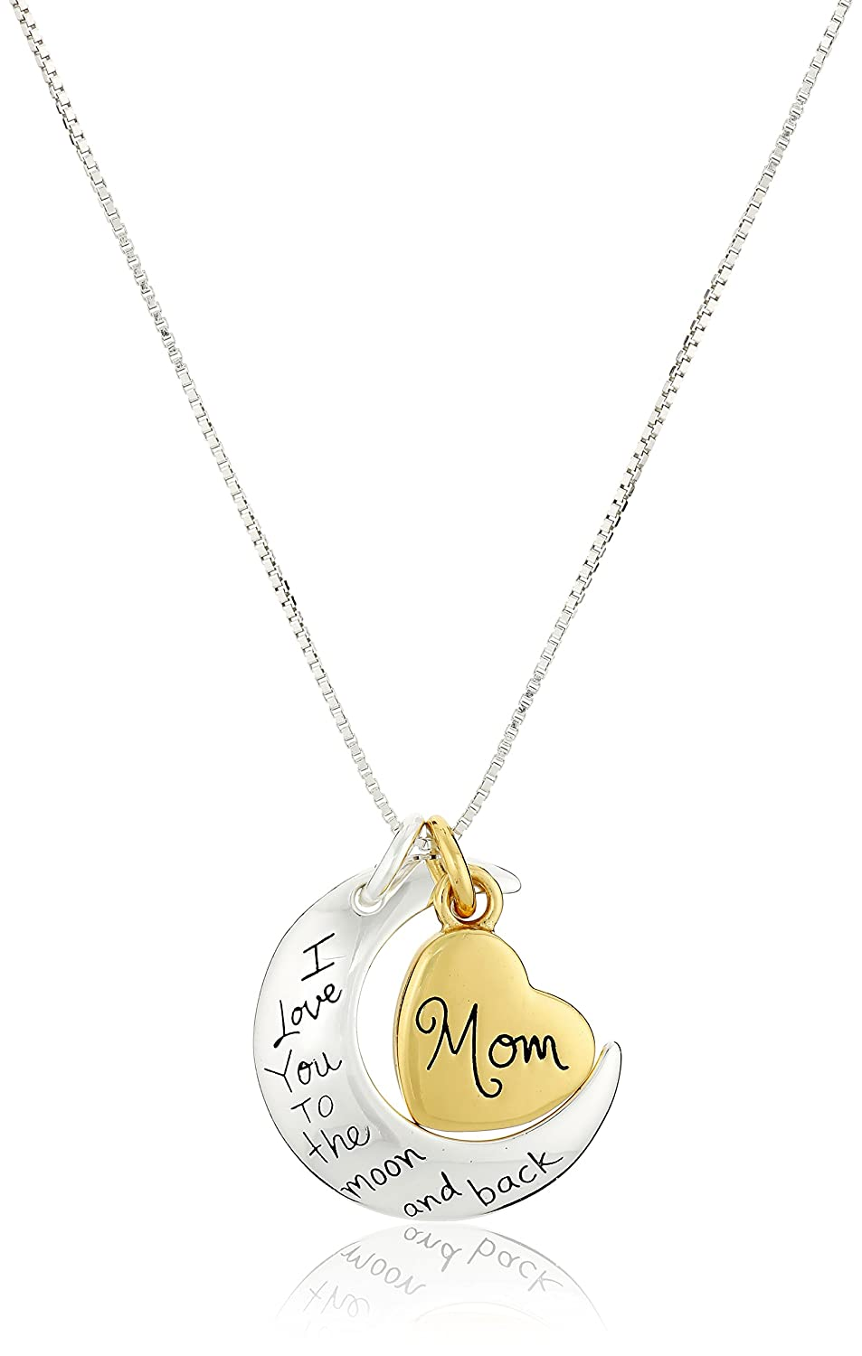 "Two-Tone Sterling Silver ""Mom I Love You To The Moon and Back"" Heart Pendant Necklace, 18"""