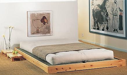 """Letto in legno modello """"Nokido"""" 140x200 con doghe e Tatami, non trattato"""