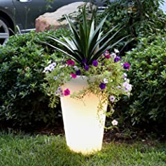 Carma Resin Soft Glow Illuminated Planter