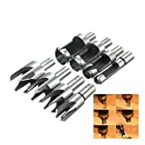 Hanperal 8 Pieces Carpentry Wood Plug Cutter Straight & Tapered Claw Type Drill Bit Cutter Sets