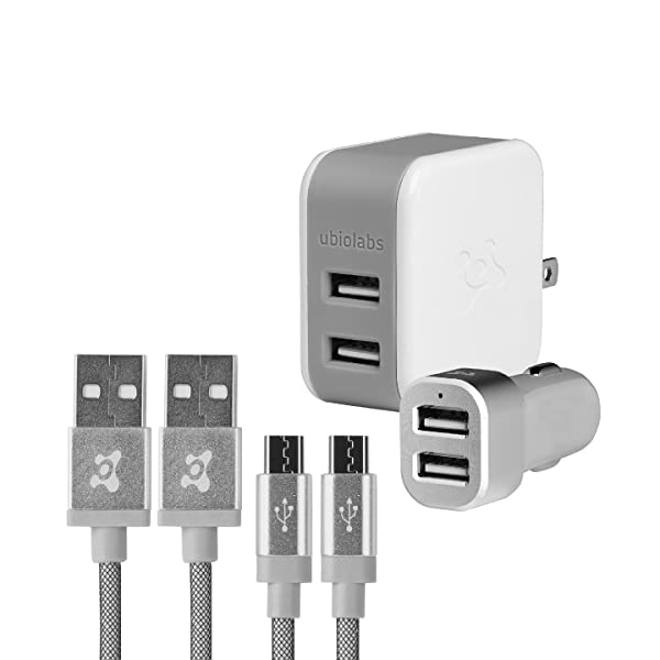 Ubio Labs (2-pack) 6ft tangle-free Micro USB cable kit for Android, Samsung, HTC, LG, Motorola. 6 foot long woven charge/sync cord with dual USB wall and car charger. 2.4A/4.8A (24W) (Color: White/Grey, Tamaño: 6 feet)
