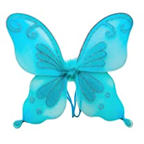 Blue Fairy Princess Costume Wings for Butterfly Fairy or Pixie Costumes. Fits Kids Most Ages.