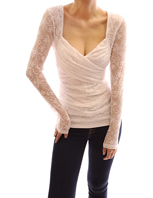 PattyBoutik V Neck Sweetheart Overlay Floral Lace Long Sleeve Blouse Top -- $32.99