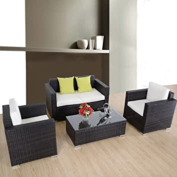Goplus 4 Pc Outdoor Rattan Sofa Wicker Sectional Garden Patio Furniture Set W/cushions (brown)