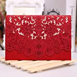 50PCS Paper Laser Cut Bronzing Wedding Baby Shower Invitation Cards Hollow Favors Invitation Cardstock for Engagement Birthday Graduation (OMK-RED)