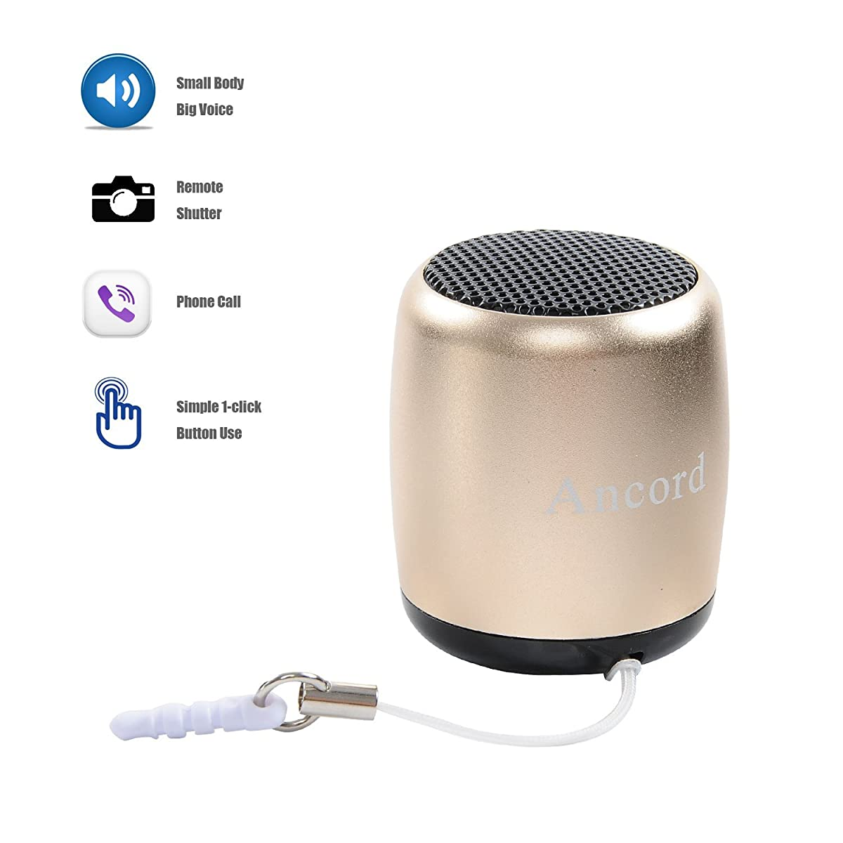 Small Bluetooth Speaker Portable by Ancord Small Body Loud Voice Shutter Button Selfie Features Gold