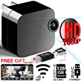 Hidden Camera - Spy Camera - HD 1080P - WiFi Camera APP Remote View with APP - USB Wall Charger - Support 128GB Micro SD Card - with Motion Detection for Home Security, Pet Baby Monitor by Phreilend (Tamaño: mm12)