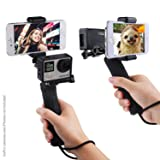 Stabilizing Hand Grip for GoPro Hero with Dual Mount, Tripod Adapter and Universal Phone Holder - Record Videos with 2 Different Camera Angles Simultaneously, Steady Shot Photography, Selfies (Color: Hand Grip, Tamaño: Hand grip + dual mount + tripod adapter + phone holder)