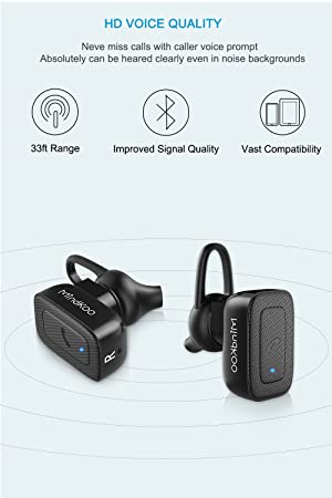 MindKoo Wireless Bluetooth Earbuds Headphones - Truly Wireless Stereo Earphones w Mic Hands-Free Calls for iPhone X/8 8 Plus/7/Android, Sweatproof for