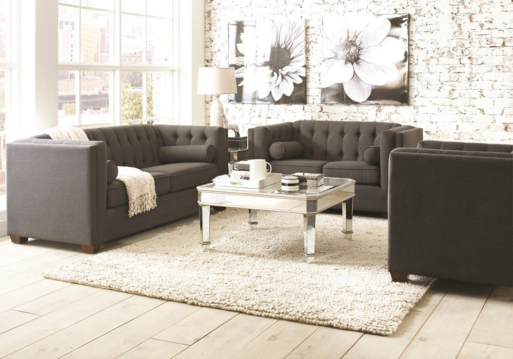 1PerfectChoice Cairns Modern Tufted Back Sofa Loveseat Couch Chair Charcoal Microvelvet Option Type: Sofa + Loveseat