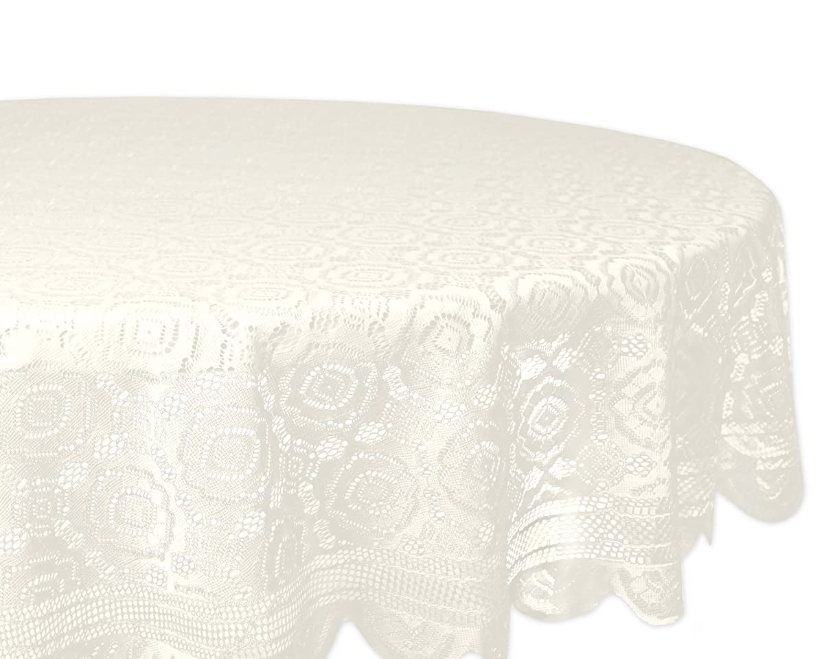 """DII Home Essentials 100% Polyester, Machine Washable, Shabby Chic, Vintage Tablecloth or Overlay 63"""" Round, Vintage Lace Cream"""