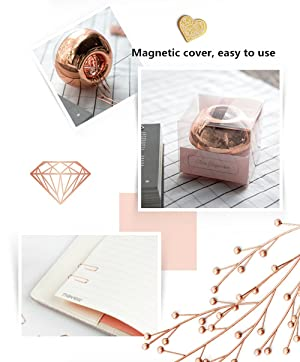 MultiBey NE0600607  Light Luxury Fashion Paper Clips, Rose Gold Edition, In Round Paper Clip Holder With Magnetic Lid, 28 mm, 100 Piece Per Box (Color: Rose Gold)