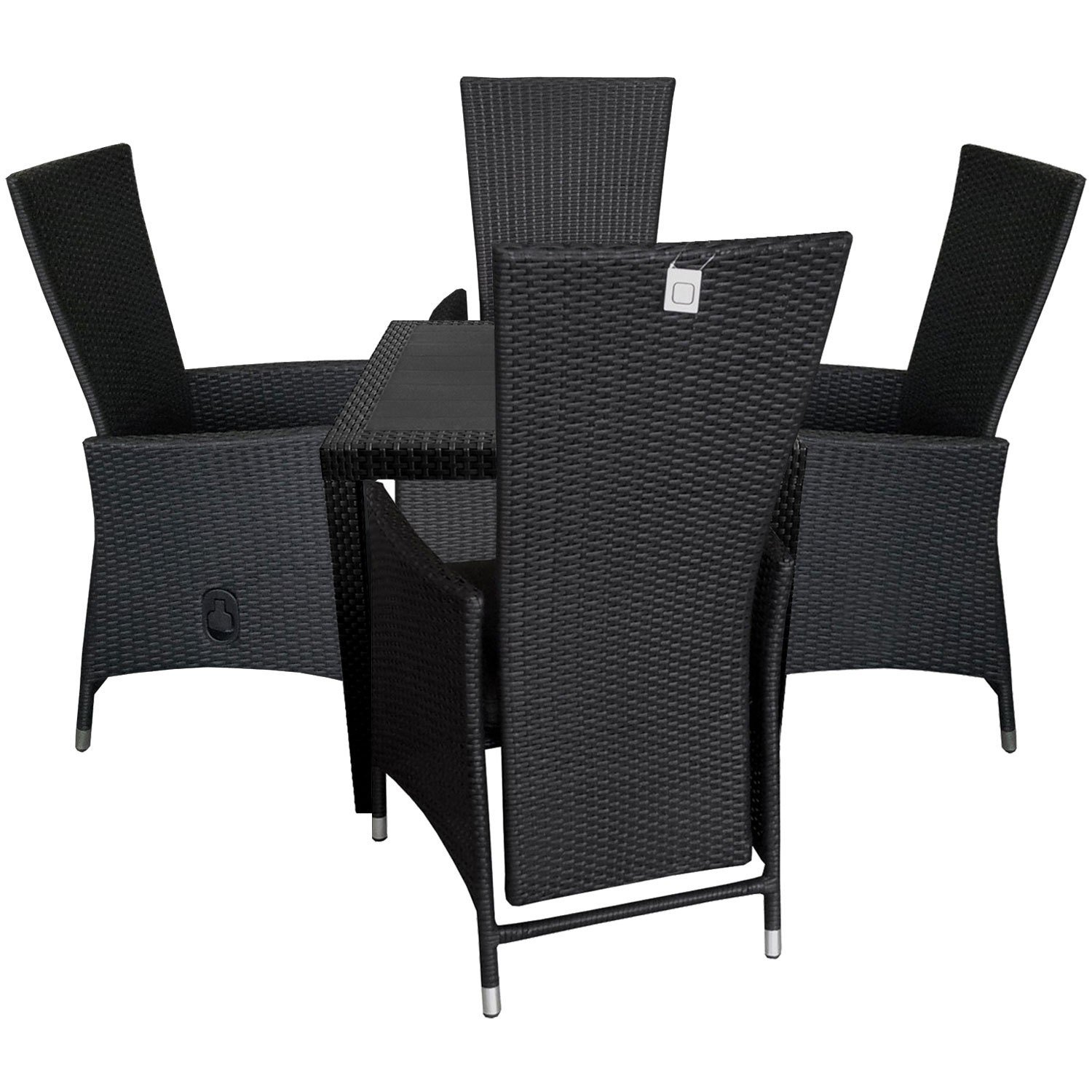 5tlg terrassenm bel set kunststoff gartentisch rattan look 79x79cm 4x poly rattan sessel. Black Bedroom Furniture Sets. Home Design Ideas