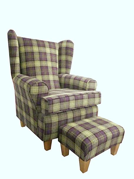 Purple Plum Tartan Fabric Queen Anne With a Deep Base design And A Matching Footstool...wing back fireside high back chair. Ideal bedroom or living room furniture