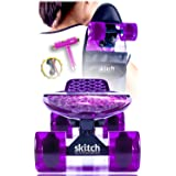 Pink Purple Penny Board Skateboard For Girls - Skitch Complete 22 Inch Mini Cruiser Skateboards For Teens Pros Children Women with Skateboard Backpack Skate Tool (Color: Galaxy Purple)
