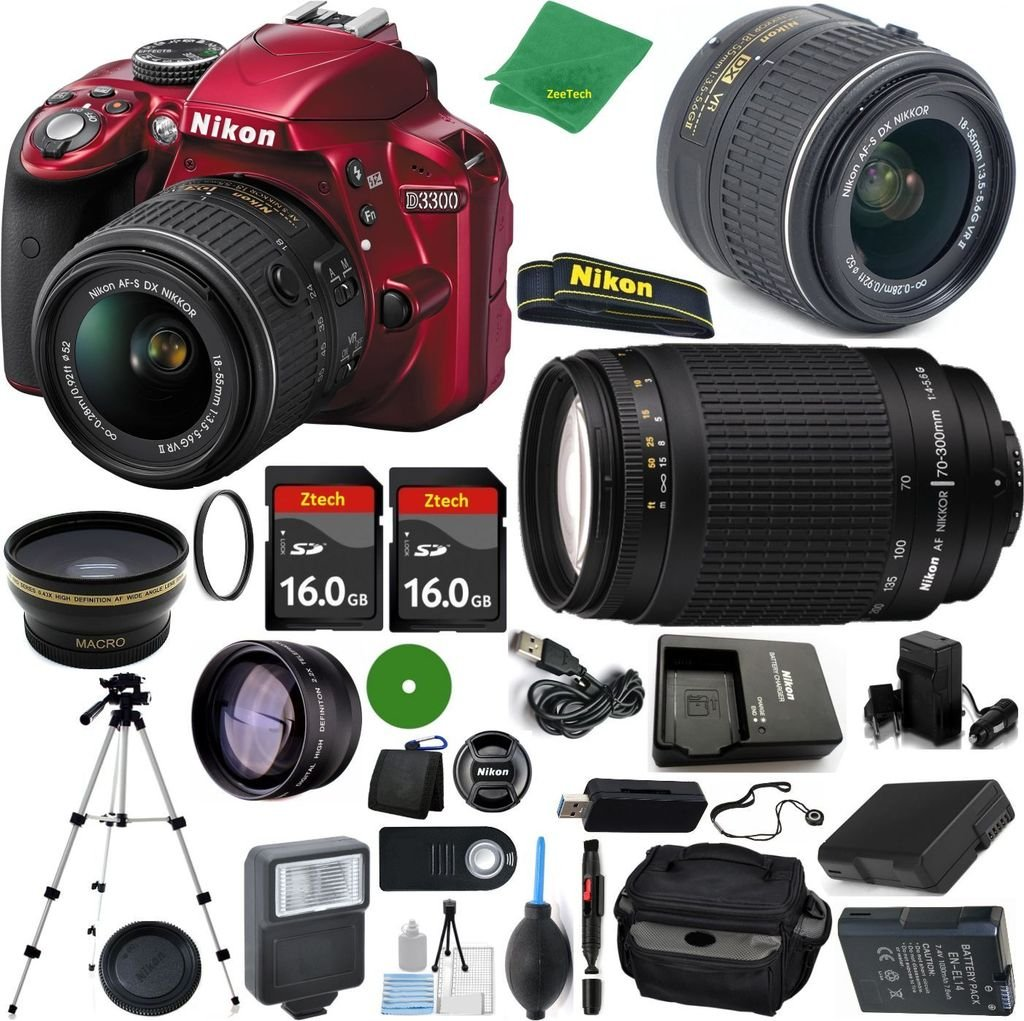 Nikon D3300 24.2 MP CMOS Digital SLR, NIKKOR 18-55mm f/3.5-5.6 Auto Focus-S DX VR, Nikon 70-300mm f/4-5.6G, 2pcs 16GB ZeeTech Memory, Case, Wide Angle, Telephoto, Flash, Battery, Charger