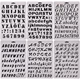 SOOKOO 6 PCS Drawing Painting Stencils Scale Template Sets, Alphabet Letter Drawing Painting Stencils Scale Template for Scrapbooking, Card and Craft Projects