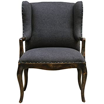 Uttermost 23631 Chione Armchair, Black