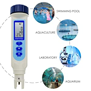 Salinity & Temp Meter Pen Type Salt Water Quality Tester ATC NaCl, 9999 ppm / 100.0ppt/ 10% / 0.95-1.08 SG Measurement Units 4-in-1 Checker for Saltwater Aquarium Pond Food Pool Cooking Seawater (Color: Salinity Meter (100.0ppt))