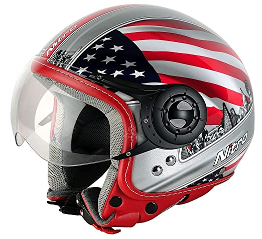 NITRO 187803S69 Casque Moto X-548 Usa Rouge