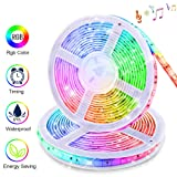 LED Strip Lights Sync to Music, KDORRKU 32.8ft Flexible 10m Self-Adhesive RGB Light Strips Remote Color Change IP65 Waterproof 300LEDs 5050 Tape Lights Neon Ribbon Room Mood Lighting 12V for Bedroom (Color: Multicolor)
