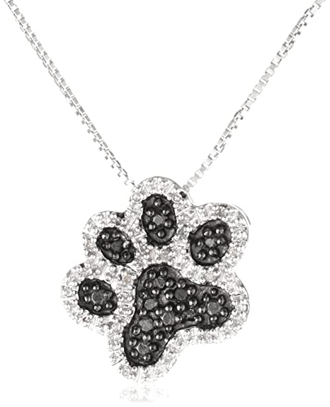 Sterling Silver Black and White Diamond Dog Paw Pendant Necklace (1/10 cttw, I-J Color, I3 Clarity), 18″ $57.00