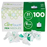 Care Touch Pen Needles 31 Gauge, 1/4 inches, 6mm (Pack of 100)