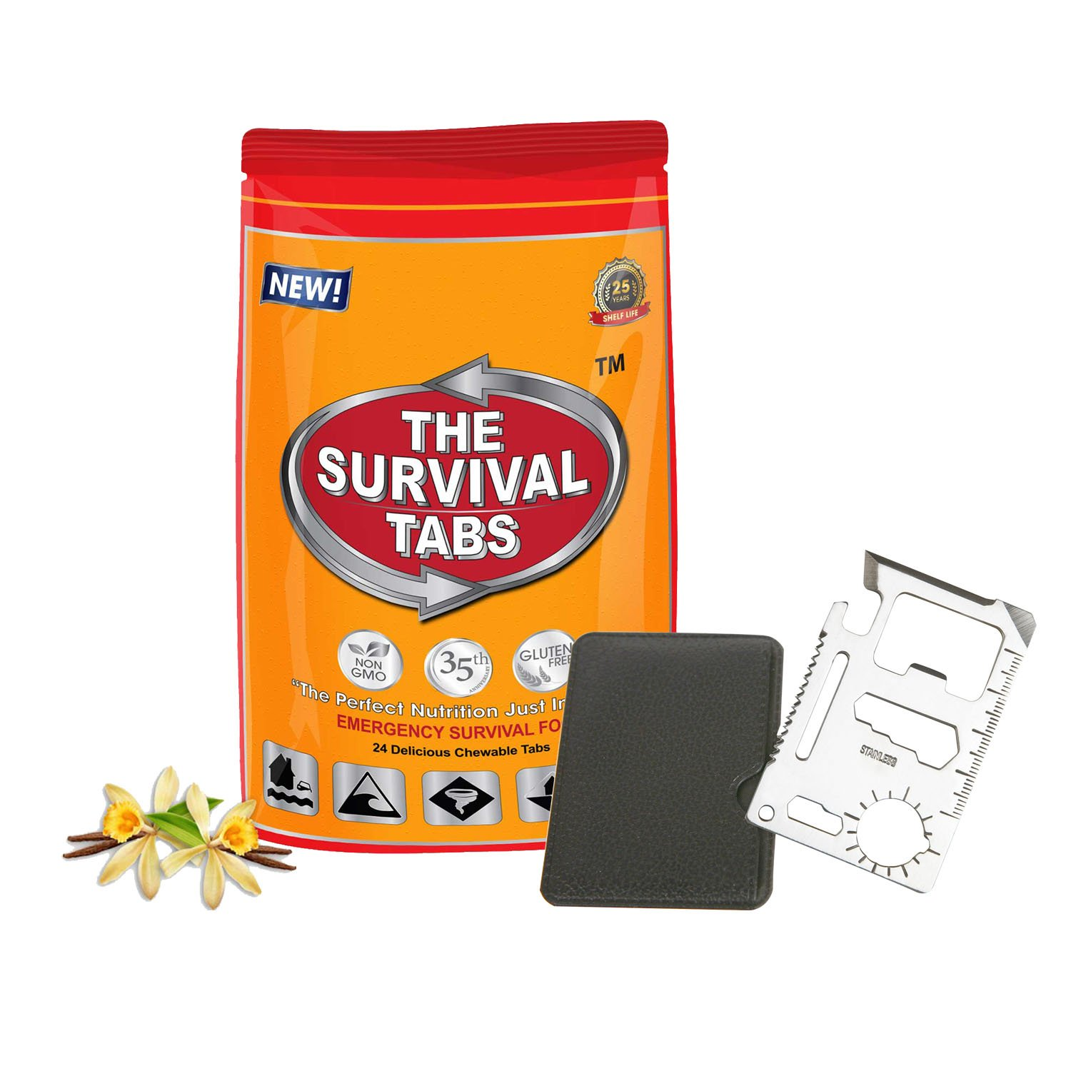 11 in1 Multi Tools Hunting Survival Camping Pocket Military Credit Card Knife + Survival Meal Ration 2-Day supply 24 tabs Ultimate Bugout Food 25 Years shelf life Gluten Free and Non-GMO - Vanilla Flavor