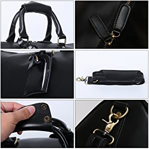 b7216cb5f8 Leathario Mens Genuine Leather Overnight Travel Duffle Overnight Weekender  Bag Luggage Carry On Airplane (Color  Black
